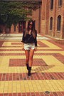 White-givenchy-blouse-black-bebe-boots-black-vintage-shorts