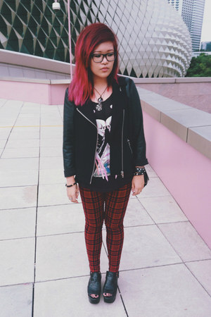 brick red checkered jeans - black Forever 21 jacket - black H&M shirt
