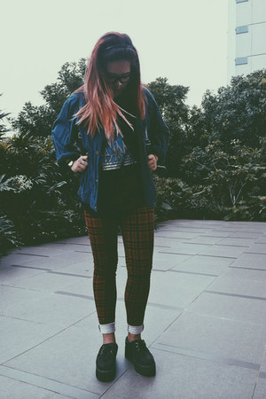 brick red checkered Lowrys Farm jeans