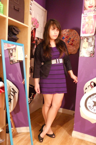 Purple Dress Black Ross Blazer Belt Nomi Heels