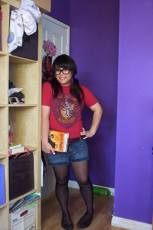 black glasses - red Hot Topic shirt - brown belt - blue shorts - black merona ti