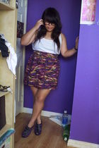 white calvin klein top - purple cotton on skirt - purple Dollhouse shoes