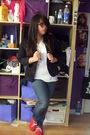 Black-blazer-white-hanes-shirt-blue-bullhead-jeans-red-dirty-laundry-shoes