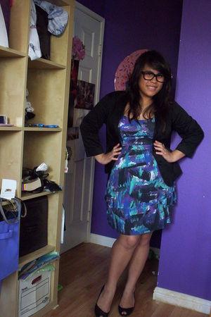 black blazer - purple Roxy dress - black Dollhouse shoes