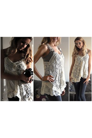 ivory lace top free people top - charcoal gray Charlotte Russe leggings