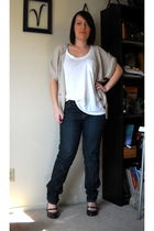 beige Forever 21 cardigan - white top - blue Sassoon jeans - brown shoes