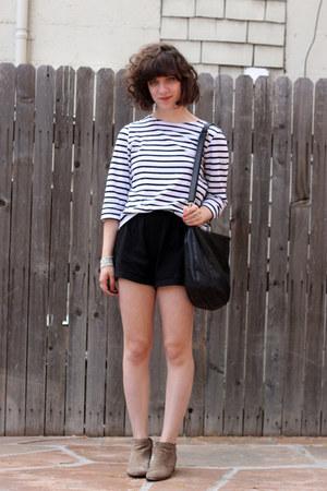 black thrifted shorts - camel sam edelman boots - off white Saint James shirt