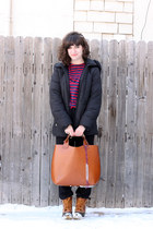 tawny Zara bag - tawny l l bean boots - black Ellen Tracy jacket