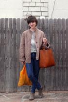 eggshell Saint James shirt - tan sam edelman boots - navy thrifted jeans