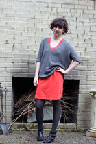 red Gap dress - gray Express sweater - gray Target tights - black franco sarto w