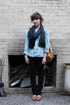 Goodwill jeans - gifted shirt - Goodwill scarf - baggu bag - crown vintage loafe