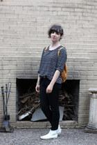black ann taylor shirt - white Minnetonka boots - tawny baggu bag