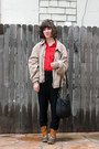 Camel-thrifted-jacket-tawny-ll-bean-boots-red-j-crew-shirt