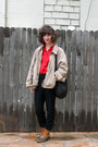 Tawny-ll-bean-boots-camel-thrifted-jacket-red-j-crew-shirt