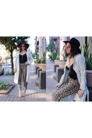 trench H&M coat - free people hat - Celine sunglasses - leopard Zara pants