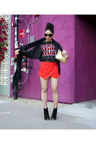 red skort Zara skirt - black suede Topshop boots