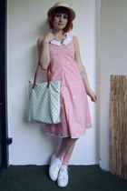bubble gum DIY dress - beige straw hat c&a hat - aquamarine c&a bag