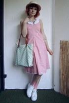 bubble gum DIY dress - beige straw hat c&a hat - aquamarine c&a bag