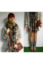 charcoal gray c&a dress - dark brown H&M bag - heather gray legwarmers c&a socks