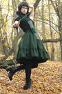Slytherin-handmade-scarf-lolita-handmade-skirt-leather-vagabond-heels