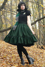 Slytherin-handmade-scarf-leather-vagabond-heels-lolita-handmade-skirt