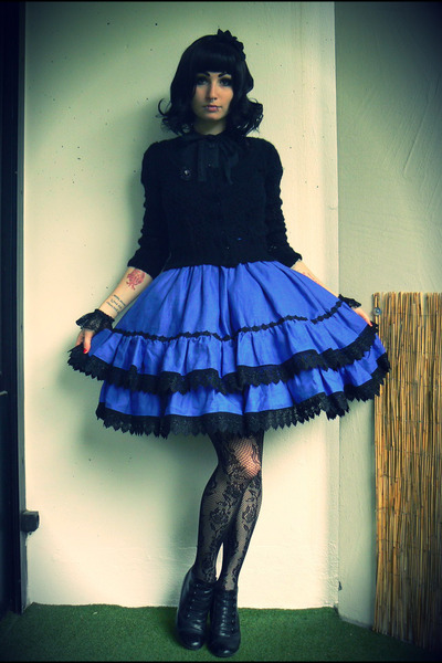 blue lolita made by me skirt - black jennyfer cardigan