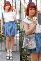 blue gorjuss bag - sky blue DIY skirt - white polka dots H&M t-shirt