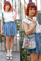 blue gorjuss bag - sky blue DIY skirt - white polka dots H&M t-shirt