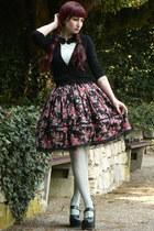 black lolita handmade skirt - aquamarine H&M shirt - aquamarine lindex tights