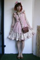 cream floral DIY dress - brown H&M bag - white floral DIY hair accessory