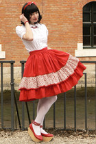 red lolita handmade skirt - white Anna House blouse - red rhs Bodyline wedges