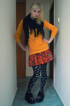 orange halloween DIY skirt - black Demonia shoes - mustard New Yorker sweatshirt