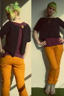 Light-brown-reno-shoes-mustard-new-yorker-pants-maroon-new-yorker-t-shirt