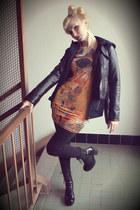romwe dress - biker jacket Pimkie jacket - vagabond heels