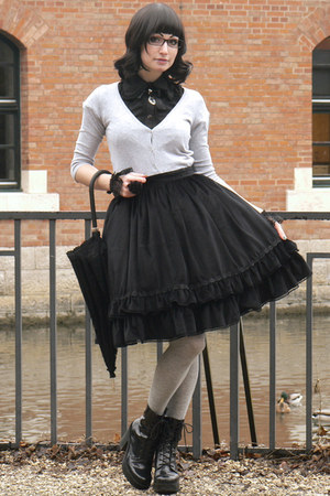 black velvet handmade skirt - black wrist-cuffs handmade by Jesterka accessories