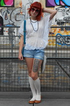 light blue Terranova shorts - white vintage blouse