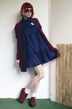crimson H&M shoes - navy New Yorker dress - nude Terranova tights