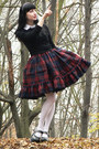 Maroon-plaid-lolita-handmade-skirt-black-h-m-cardigan
