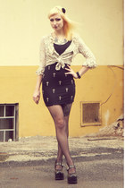black cross Bershka skirt - beige lace vintage top - black Demonia heels