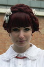 Brick-red-wig-lockshop-accessories-white-anna-house-blouse