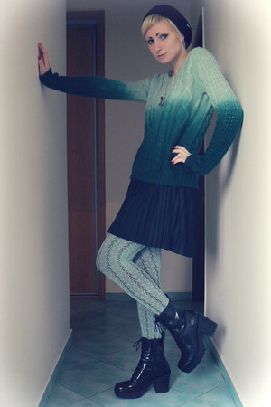 green ombre c&a sweater - aquamarine lindex tights
