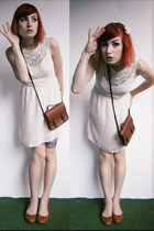 brown H&M bag - off white lace Sheinside dress - brown c&a flats