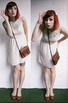 brown H&M bag - off white lace Sheinside dress - brown c&a flats