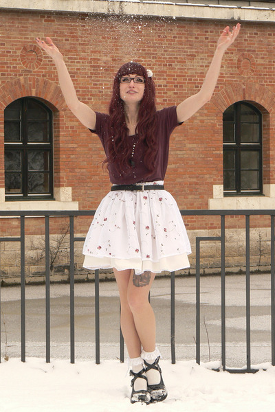 white handmade skirt - maroon New Yorker top - ivory H&M accessories