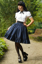 navy handmade lolita RABBIT HEART shop skirt - black Demonia heels