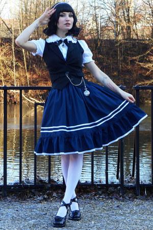 navy handmade lolita RABBIT HEART shop skirt