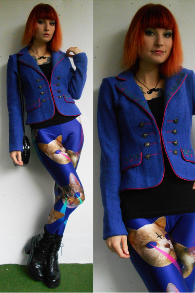 black vagabond shoes - blue Lovelysally leggings - blue New Yorker blazer