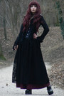 Black-goth-long-handmade-skirt-black-demonia-heels