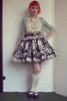 Amber - made by Reiko skirt - aquamarine H&M cardigan