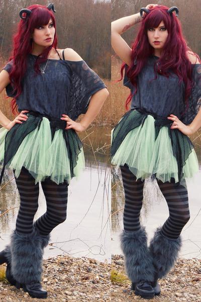 chartreuse tote bag RABBIT HEART shop bag - lime green tulle DIY skirt